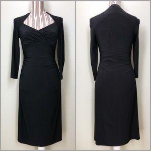 Anne Klein Black Ruched Waist Long Sleeve Dress
